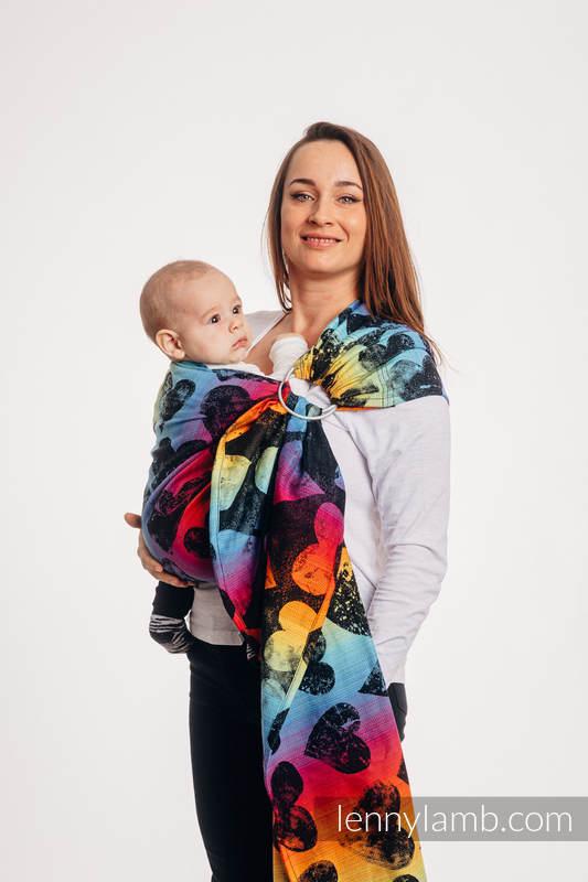 RingSling, Jacquardwebung (100% Baumwolle), mit Raffung an den Ringen - LOVKA RAINBOW DARK - standard 1.8m #babywearing