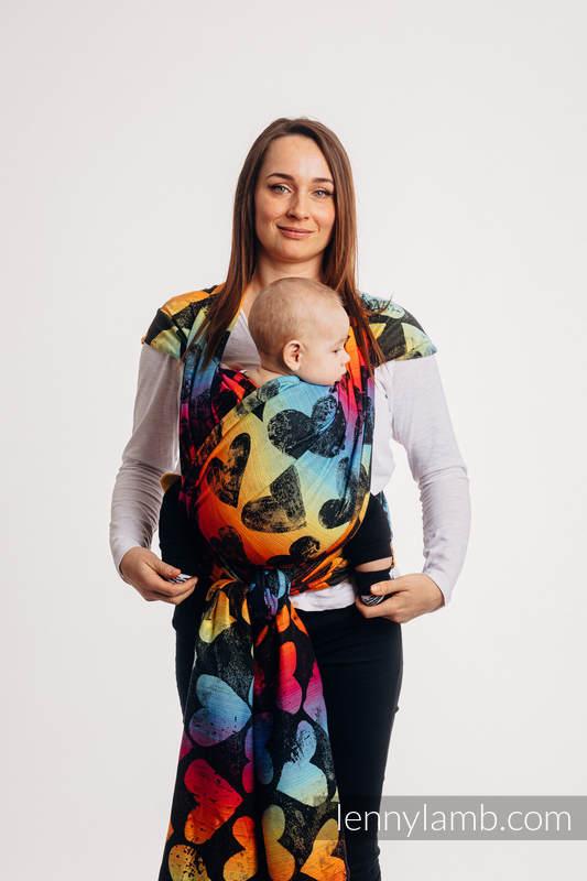 Żakardowa chusta do noszenia dzieci, bawełna - LOVKA TĘCZOWA DARK - rozmiar M #babywearing
