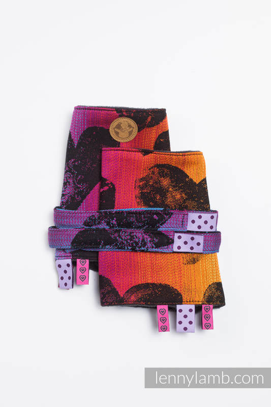 Drool Pads & Reach Straps Set, (60% cotton, 40% polyester) - LOVKA RAINBOW DARK  #babywearing