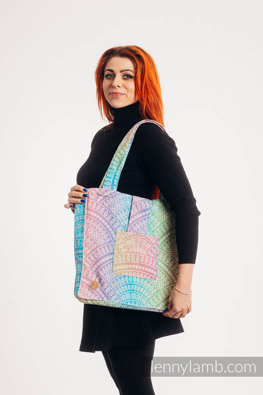 Shoulder bag made of wrap fabric (100% cotton) - PEACOCK'S TAIL - BUBBLE - standard size 37cmx37cm #babywearing