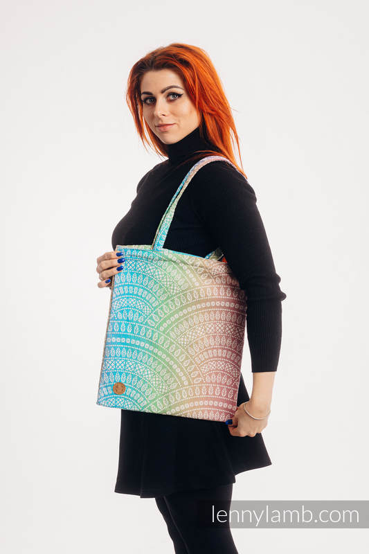 Shopping bag made of wrap fabric (100% cotton) - PEACOCK'S TAIL - BUBBLE  #babywearing