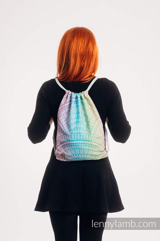 Mochila portaobjetos hecha de tejido de fular (100% algodón) - PEACOCK'S TAIL - BUBBLE - talla estándar 32cmx43cm #babywearing