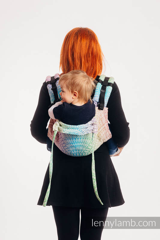 Lenny Buckle Onbuhimo baby carrier, standard size, jacquard weave (100% cotton) - PEACOCK'S TAIL - BUBBLE  #babywearing