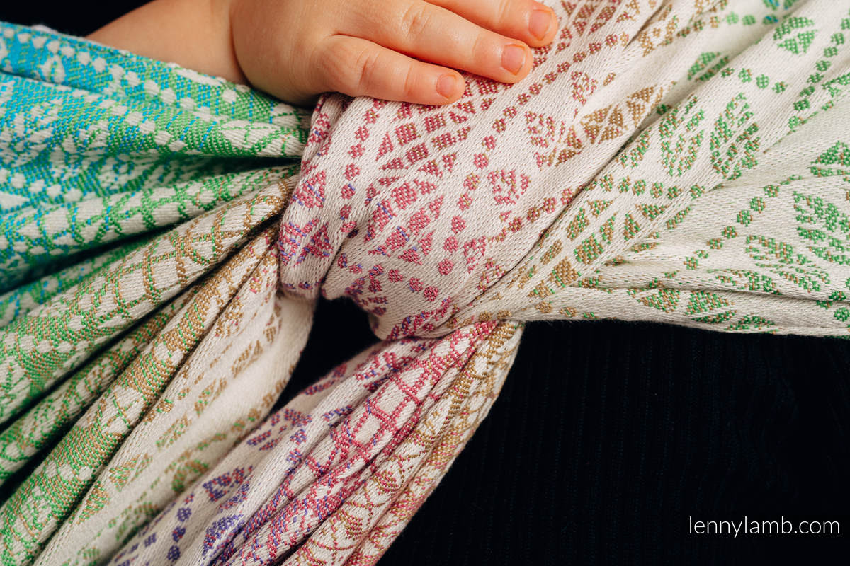 Baby Wrap, Jacquard Weave (100% cotton) - PEACOCK'S TAIL - BUBBLE - size M #babywearing