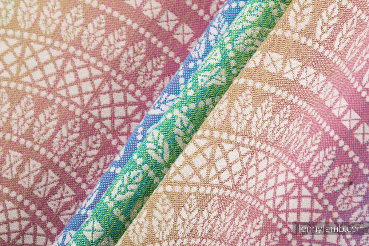 Baby Wrap, Jacquard Weave (100% cotton) - PEACOCK'S TAIL - BUBBLE - size XS #babywearing