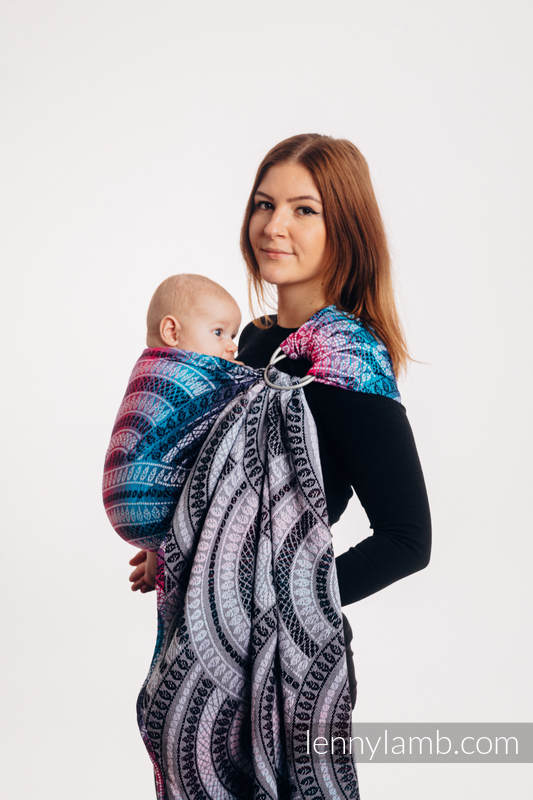 Ringsling, Jacquard Weave (65% cotton, 35% bamboo), with gathered shoulder - PEACOCK'S TAIL - DREAMSPACE - standard 1.8m #babywearing