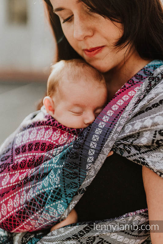 Baby Wrap, Jacquard Weave (65% cotton, 35% bamboo) - PEACOCK'S TAIL - DREAMSPACE - size XS #babywearing