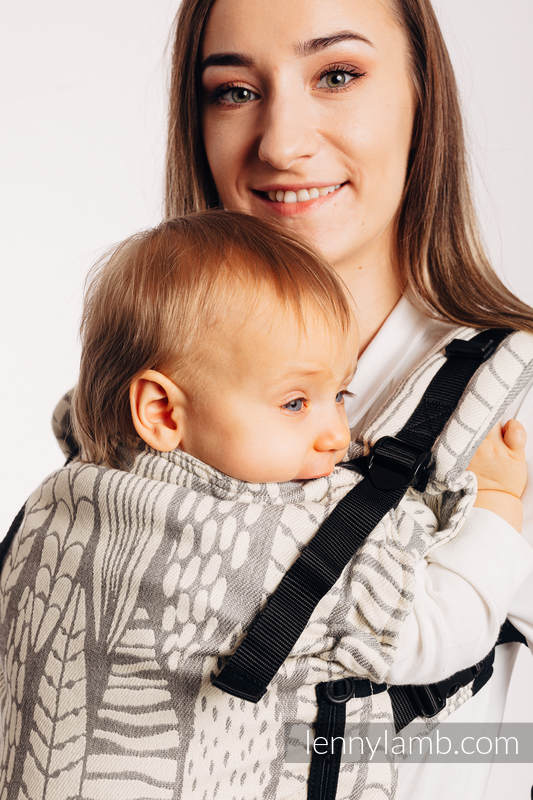 LennyUpGrade Carrier, Standard Size, jacquard weave (85% cotton, 15% bamboo charcoal) - SKETCHES OF NATURE - PURE - no dyes #babywearing
