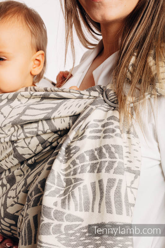 Bandolera de anillas, tejido Jacquard, con plegado simple - (85% algodón, 15% bambú charcoal) - SKETCHES OF NATURE - PURE - no dyes - standard 1.8m #babywearing