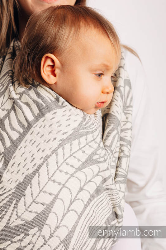 Baby Wrap, Jacquard Weave (85% cotton, 15% bamboo charcoal) - SKETCHES OF NATURE - PURE - no dyes - size XS #babywearing