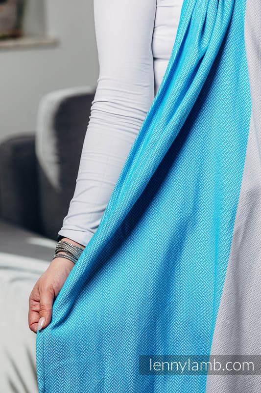 Moja druga chusta kółkowa do noszenia dzieci, tkana splotem jodełkowym, bawełna, ramię bez zakładek - MAŁA JODEŁKA SODALIT - standard 1.8m #babywearing