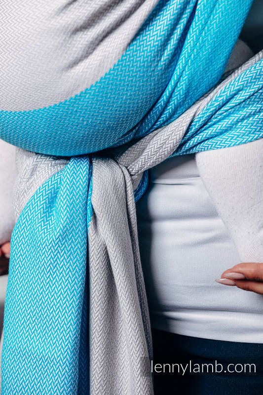 Basic Line Baby Sling, Herringbone Weave (100% cotton) - LITTLE HERRINGBONE LARIMAR - size M (grade B) #babywearing