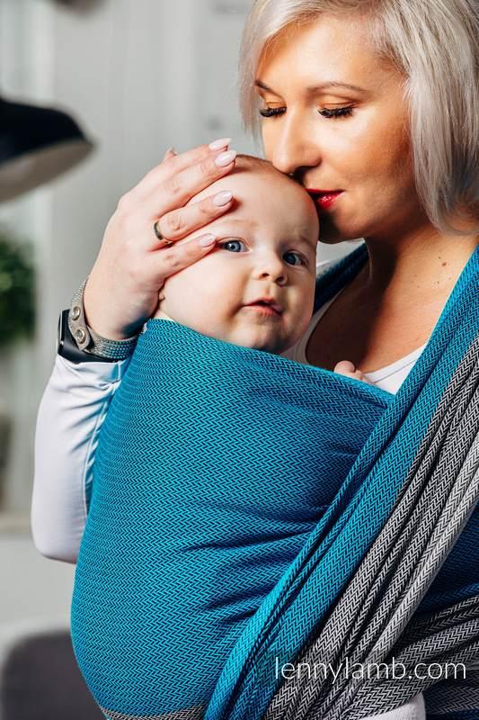 Basic Line Baby Sling, Herringbone Weave (100% cotton) - LITTLE HERRINGBONE SODALITE - size XS #babywearing