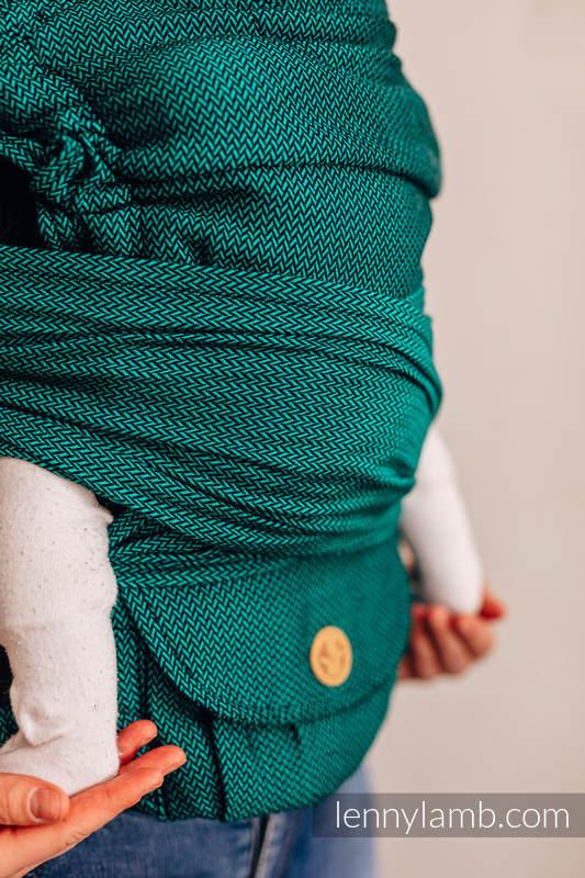 LennyHybrid Half Buckle Carrier, Standard Size, herringbone weave 100% cotton - BASIC LINE EMERALD (grade B) #babywearing