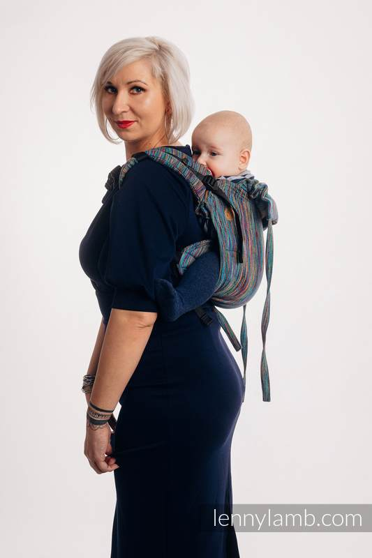 Lenny Buckle Onbuhimo baby carrier, toddler size, jacquard weave (100% cotton) - COLORFUL WIND  #babywearing