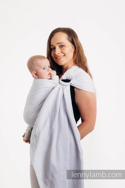 Chusta kółkowa, splot żakardowy, ramię bez zakładek (100% bawełna) - PAWI OGON - BLANCO - standard 1.8m #babywearing