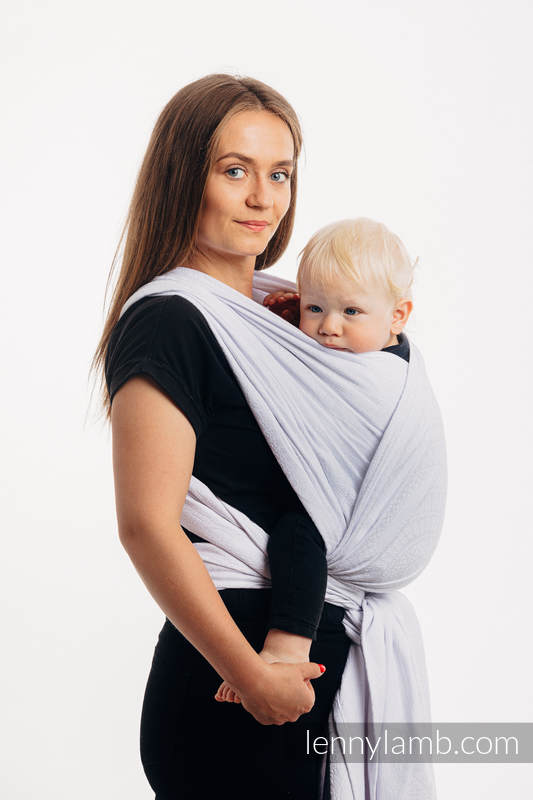 Baby Wrap, Jacquard Weave (100% cotton) - PEACOCK'S TAIL - BLANCO - size S #babywearing