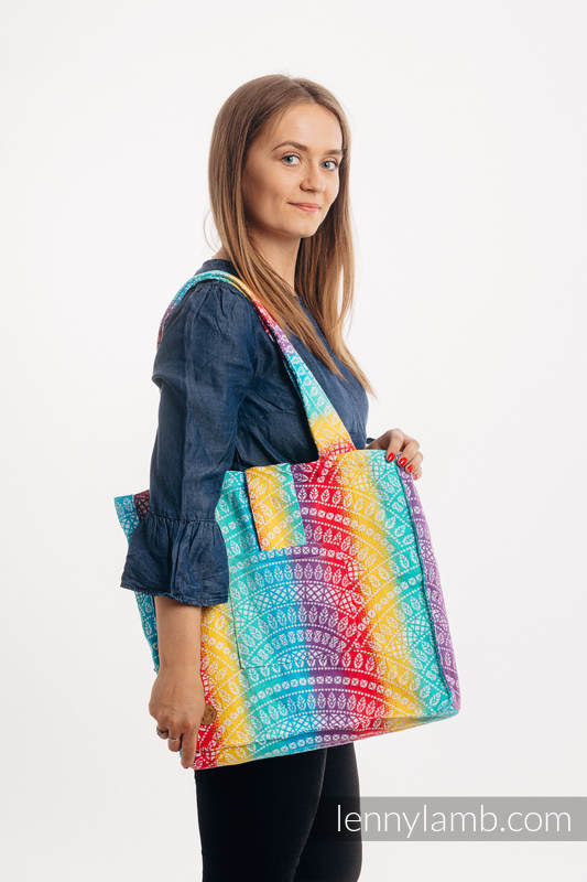 Shoulder bag made of wrap fabric (100% cotton) - PEACOCK'S TAIL - FUNFAIR - standard size 37cmx37cm #babywearing