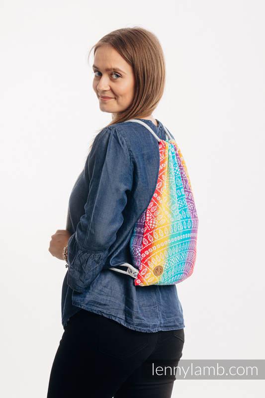 Mochila portaobjetos hecha de tejido de fular (100% algodón) - PEACOCK'S TAIL - FUNFAIR - talla estándar 32cmx43cm #babywearing