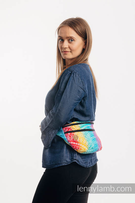Waist Bag made of woven fabric, size large (100% cotton) - PEACOCK'S TAIL - FUNFAIR  #babywearing