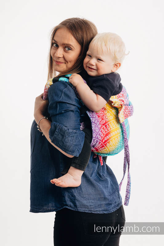 Lenny Buckle Onbuhimo baby carrier, standard size, jacquard weave (100% cotton) - PEACOCK'S TAIL - FUNFAIR  #babywearing