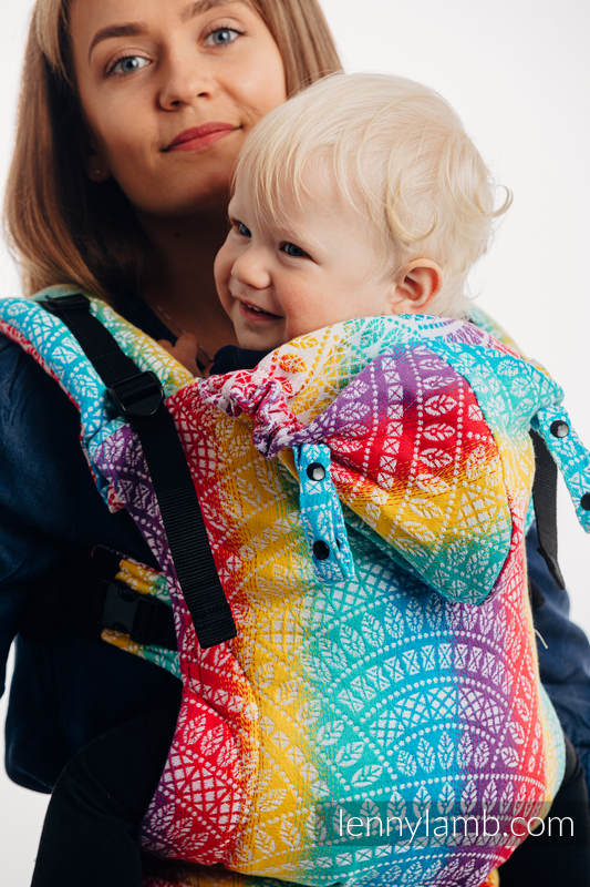 LennyGo Ergonomic Carrier, Baby Size, jacquard weave 100% cotton - PEACOCK'S TAIL - FUNFAIR  #babywearing