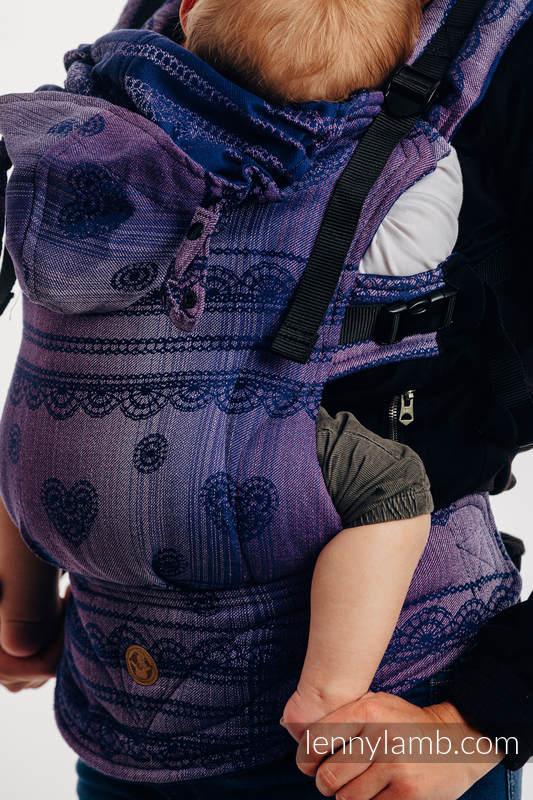 Ergonomische Tragehilfe LennyGo, Größe Toddler, Jacquardwebung, 65% Baumwolle, 25% Leinen, 10% Tussahseide - SPACE  LACE #babywearing