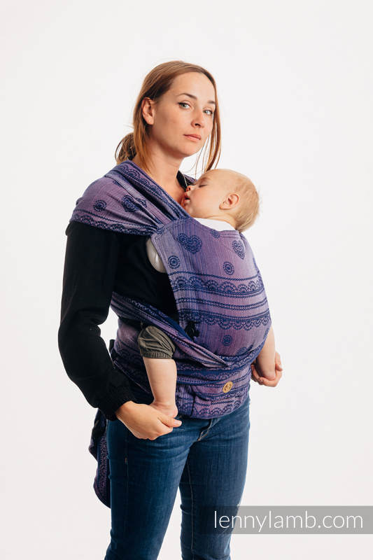 LennyHybrid Half Buckle Carrier, Standard Size, jacquard weave (65% cotton 25% linen 10% tussah silk) - SPACE LACE #babywearing