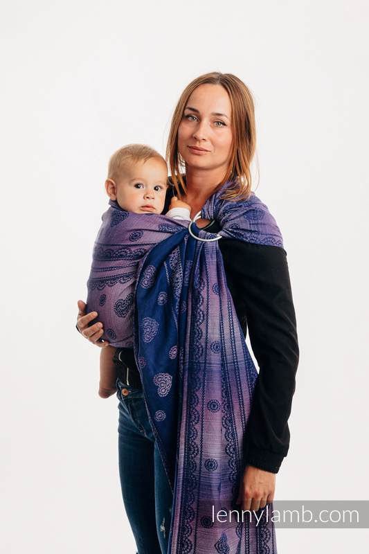 Ringsling, Jacquard Weave, with gathered shoulder (65% cotton 25% linen 10% tussah silk) - SPACE LACE - long 2.1m #babywearing