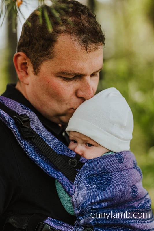 Nosidełko LennyUpGrade z tkaniny żakardowej 65% Bawełna 25% Len 10% Jedwab Tussah, rozmiar standard - KOSMICZNA KORONKA #babywearing