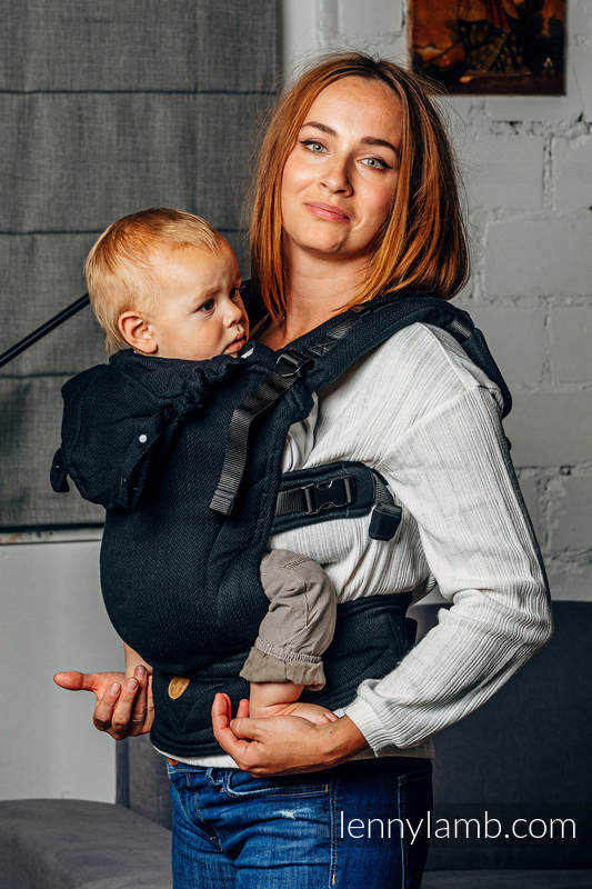 LennyGo Basic Line Ergonomic Carrier,  Baby Size, herringbone weave 100% cotton - LITTLE HERRINGBONE BLACK EBONY #babywearing