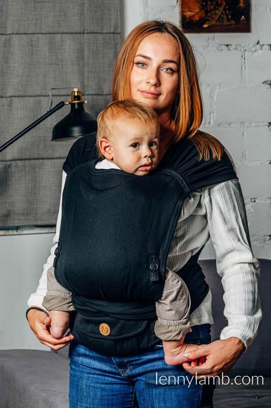 LennyHybrid Half Buckle Tragehilfe, Größe Standard, Fischgrätmuster, 100% Baumwolle - LITTLE HERRINGBONE BLACK EBONY  #babywearing