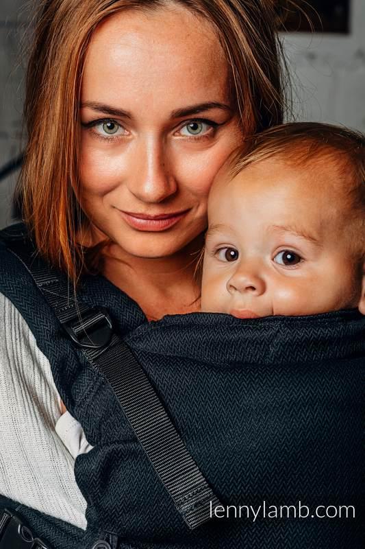 Nosidełko LennyUpGrade, splot jodełkowy, 100% bawełna , rozmiar standard - MAŁA JODEŁKA CZARNY HEBAN  #babywearing