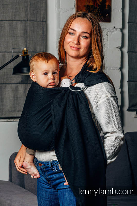 Basic Line Ring Sling, Herringbone Weave (100% cotton) - with gathered shoulder - LITTLE HERRINGBONE BLACK EBONY - standard 1.8m (grade B) #babywearing