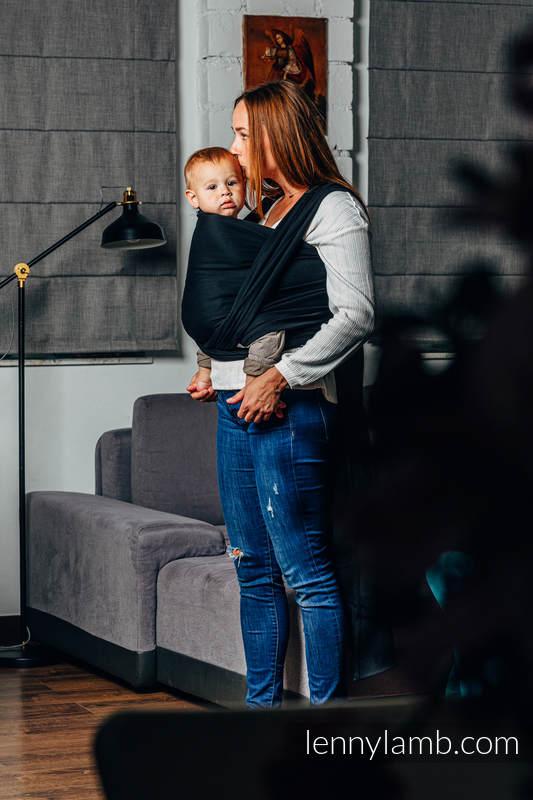 Fular Línea Básica, tejido Herringbone (100% algodón) - LITTLE HERRINGBONE EBONY BLACK - talla S #babywearing
