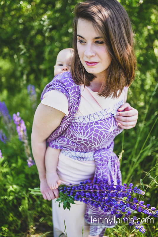 Écharpe, jacquard (100% lin) - LOTUS - PURPLE - taille XS #babywearing