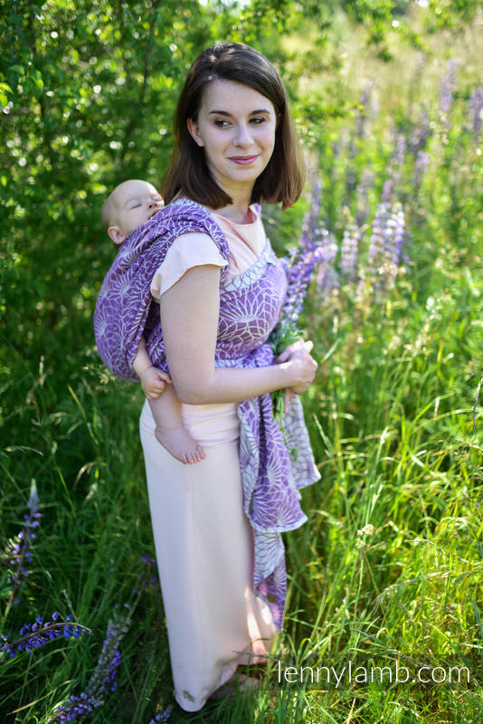 Écharpe, jacquard (100% lin) - LOTUS - PURPLE - taille XL #babywearing