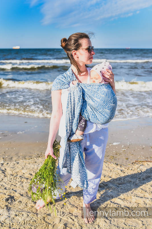 Ringsling, Jacquard Weave (100% linen) - LOTUS - BLUE - standard 1.8m #babywearing
