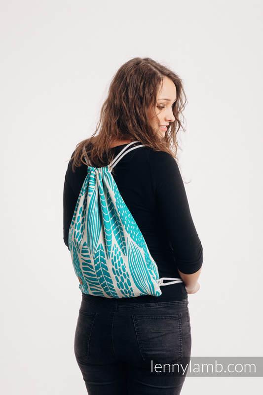 Mochila portaobjetos hecha de tejido de fular (100% algodón) - SKETCHES OF NATURE - SEA GREEN - talla estándar 32cmx43cm #babywearing