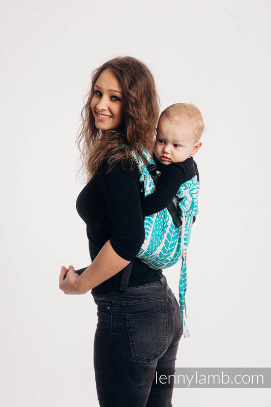 Lenny Buckle Onbuhimo baby carrier, standard size, jacquard weave (100% cotton) - SKETCHES OF NATURE - SEA GREEN #babywearing