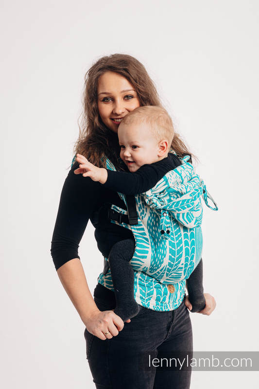 LennyGo Ergonomic Carrier, Baby Size, jacquard weave 100% cotton - SKETCHES OF NATURE - SEA GREEN #babywearing