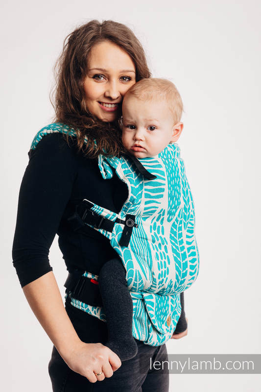LennyUpGrade Carrier, Standard Size, jacquard weave 100% cotton - SKETCHES OF NATURE - SEA GREEN #babywearing