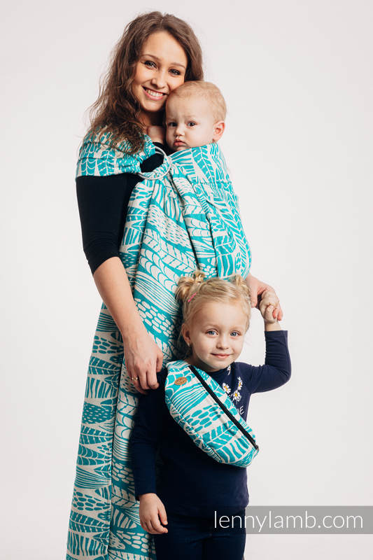 Ringsling, Jacquard Weave (100% cotton) - SKETCHES OF NATURE - SEA GREEN - standard 1.8m #babywearing