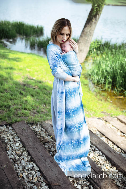 Baby Wrap, Jacquard Weave (54% cotton, 46% silk) - SYMPHONY - OVER CLOUDS - size XS #babywearing