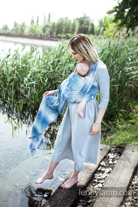 Baby Wrap, Jacquard Weave (54% cotton, 46% silk) - SYMPHONY - OVER CLOUDS - size S #babywearing