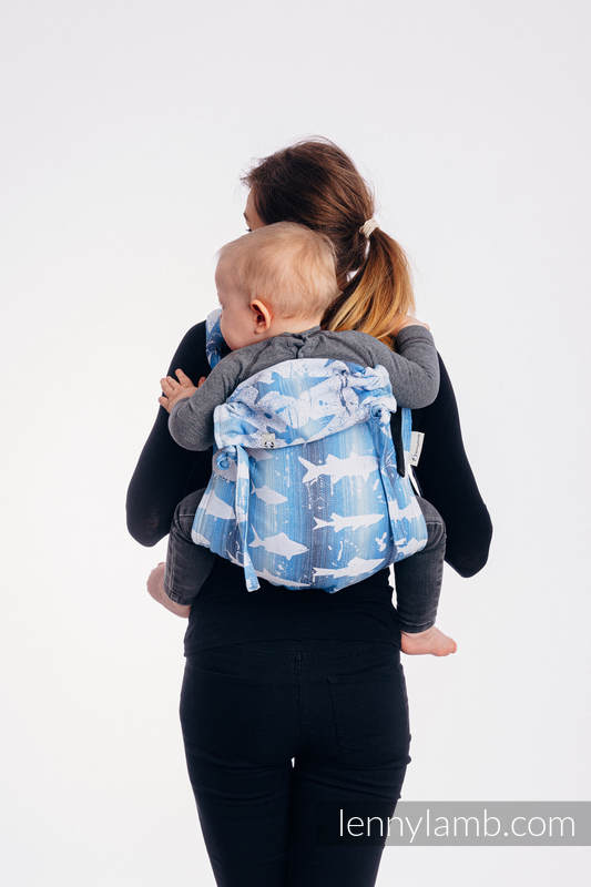 Lenny Buckle Onbuhimo baby carrier, standard size, jacquard weave (100% cotton) - FISH'KA BIG BLUE  #babywearing