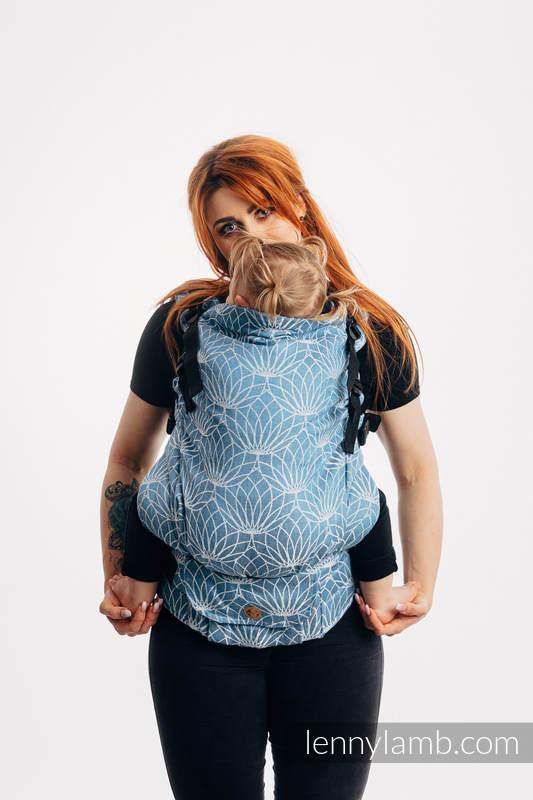 LennyPreschool Carrier, Preschool Size, jacquard weave 100% linen - LOTUS - BLUE  #babywearing