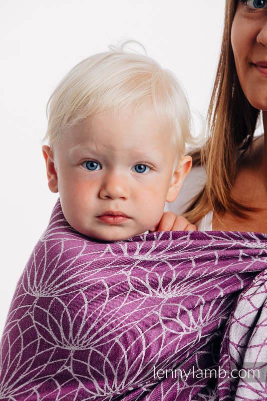 Żakardowa chusta kółkowa do noszenia dzieci, 100% len, ramię bez zakładek - LOTOS - PURPUROWY - long 2.1m #babywearing