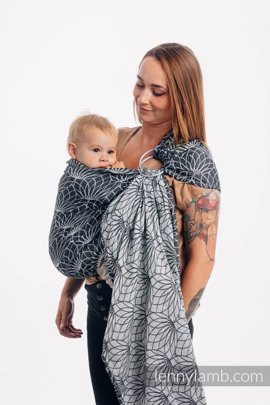 RingSling, Jacquardwebung (100% Leinen,) Raffung an den Ringen - LOTUS - BLACK - standard 1.8m #babywearing