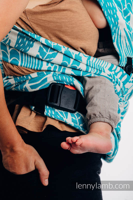 LennyHybrid Half Buckle Carrier, Standard Size, jacquard weave 100% cotton - SKETCHES OF NATURE - SEA GREEN #babywearing